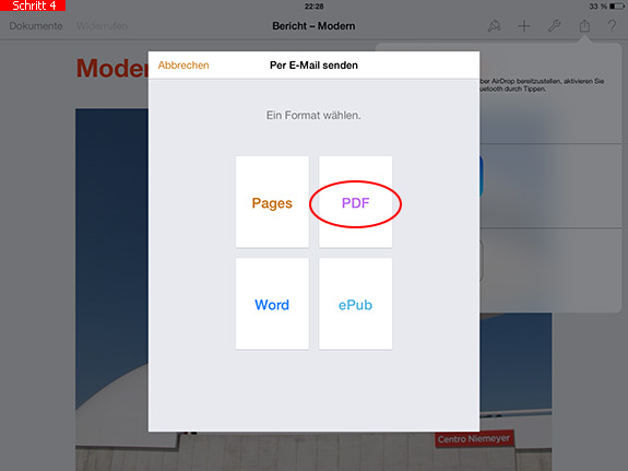 Pages-Dokument in PDF umwandeln