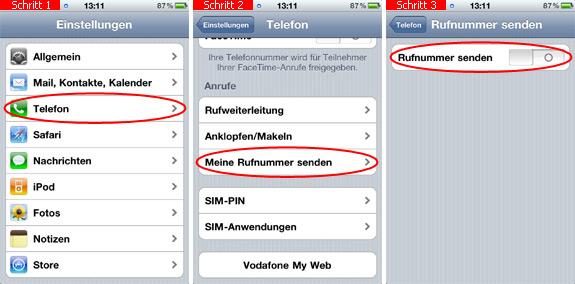 nummer unterdrücken beim iphone